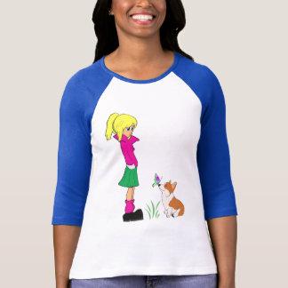 Jugendmädchen mit Walisercorgi-Cartoon-T - Shirt
