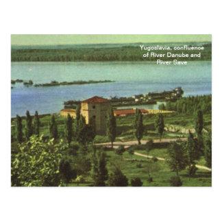 Jugoslawien, Zusammenströmen von Fluss Donau, Postkarte