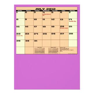 Juli. 2012 Kalender-13-monatiger Vielzweckflieger 21,6 X 27,9 Cm Flyer