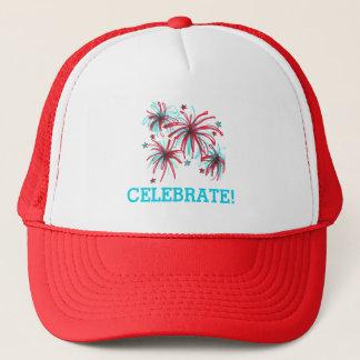 Juli 4. feiern Feuerwerks-patriotischen Hut Truckerkappe