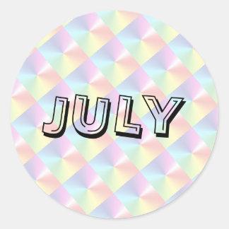 Juli-Alphabet-Suppen-Diamant-Schimmer-Aufkleber Runder Aufkleber