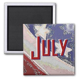 Juli, zum des Listen-Magneten (US Flagge) zu tun Quadratischer Magnet