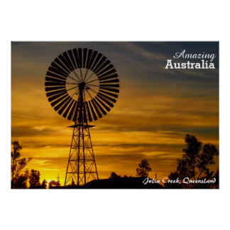 Julia Creek Windmühlen-Sonnenuntergangplakat Poster