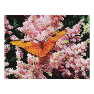 Julia-Schmetterling auf rosa Blumen Poster