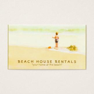 Junge auf einem Strand-Aquarell Visitenkarte