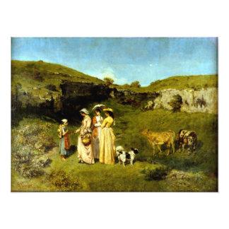 Junge Damen Gustave Courbets des Dorfs Fotodruck