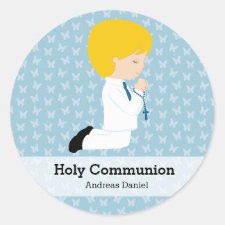 Junge der heiligen Kommunion * wählen Sie Ihre Runde Aufkleber