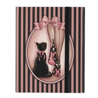 Junge elegante Frau und schwarze Katze Schutzhülle Fürs iPad