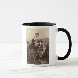 Junge Frau auf einem Pferd Tasse