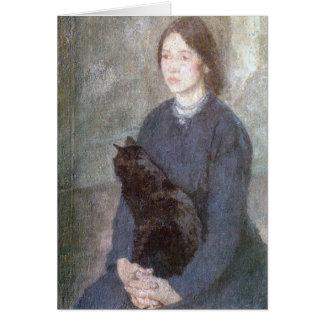 Junge Frau, die eine schwarze Katze - Gwen John Karte