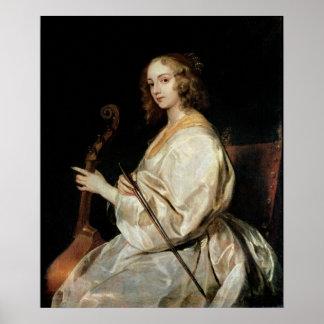 Junge Frau, die eine Viola-DA-Gambe spielt Poster