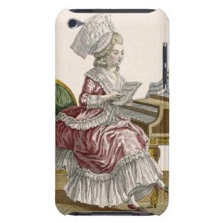 Junge Frau, die Musik an ihrem Cembalo, Winkel des iPod Touch Case