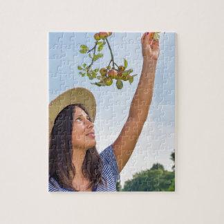 Junge Frau, die rote Äpfel vom Apfelbaum auswählt Puzzle