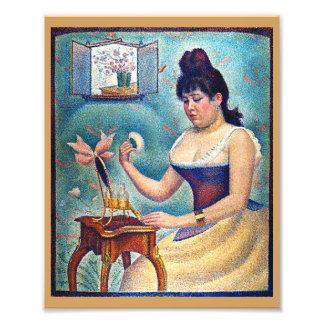 Junge Frau, die sich pulverisiert Fotodruck