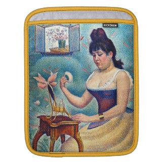 Junge Frau, die sich pulverisiert Sleeve Für iPads