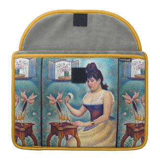 Junge Frau, die sich pulverisiert Sleeves Für MacBook Pro