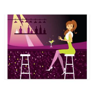 Junge Frau in der Nachtklub-Postkarte Postkarte