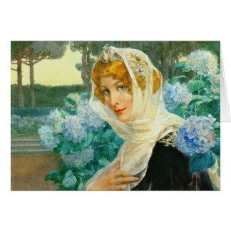 Junge Frau mit Hydrangeas 1900 Karte