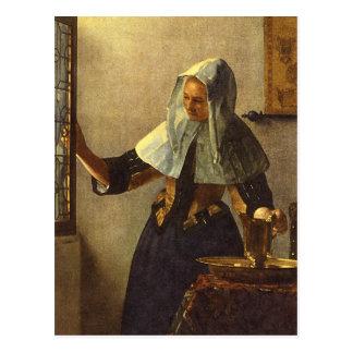 Junge Frau mit Wasser-Krug - Johannes Vermeer Postkarte