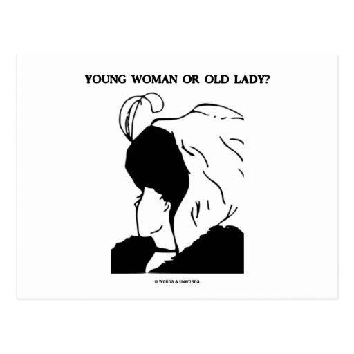 Junge Frau oder alte Dame? (Optische Täuschung) Postkarte
