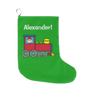 Junge in einem Zug-Namen kundengerecht Großer Weihnachtsstrumpf