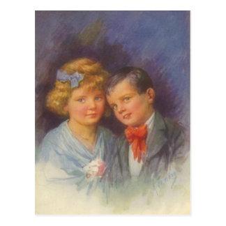 Junge Liebe, Vintages Mädchen u. Jungevalentine-Po Postkarte
