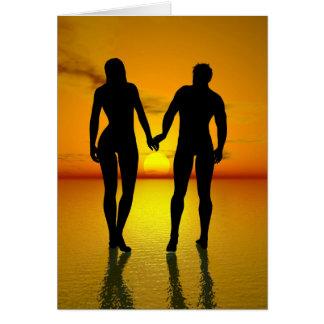 Junge Liebhaber durch Sonnenuntergang Karte