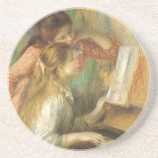 Junge Mädchen am Klavier durch Pierre Renoir Getränkeuntersetzer