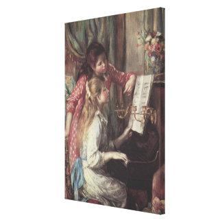 Junge Mädchen am Klavier durch Pierre Renoir Leinwanddruck