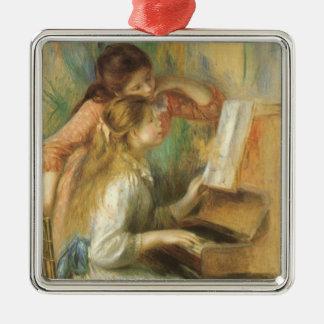 Junge Mädchen am Klavier durch Pierre Renoir Quadratisches Silberfarbenes Ornament