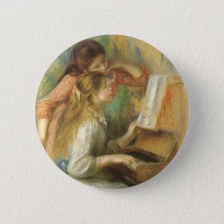 Junge Mädchen am Klavier durch Pierre Renoir Runder Button 5,7 Cm