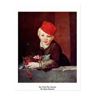 Junge mit den Kirschen durch Manet Edouard Postkarte