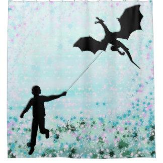 Junge mit Drachen Duschvorhang