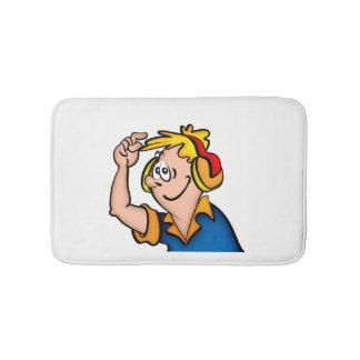 Junge mit Kopfhörer Badematte