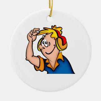 Junge mit Kopfhörer Keramik Ornament