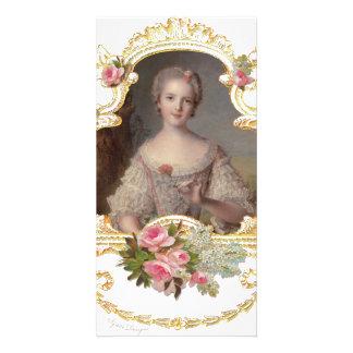 Junge rosa Rosen-Karten der Königin-Marie Antoinet Foto Karten Vorlage