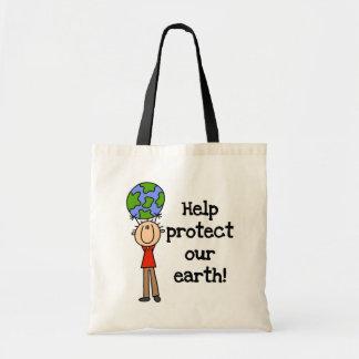 Junge schützen unsere Erdt-shirts und -geschenke Budget Stoffbeutel