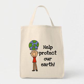 Junge schützen unsere Erdt-shirts und -geschenke Leinentasche