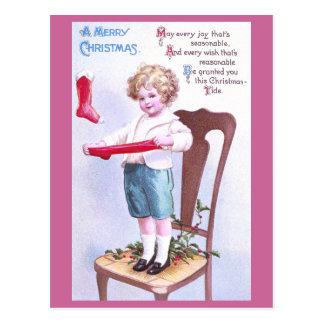 Junge Strumpf-Bahre-Vintages Weihnachten Postkarte
