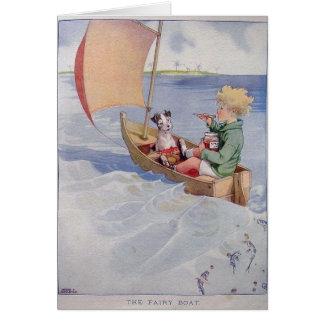Junge u. Hund in einem Segelboot, Karte