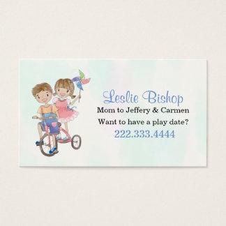 Junge und Mädchen auf Visitenkarte