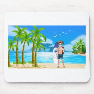 Junge und Strand Mauspads
