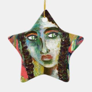 Junge Ureinwohner-Frau mit Federn Keramik Stern-Ornament