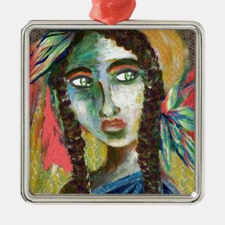 Junge Ureinwohner-Frau mit Federn Quadratisches Silberfarbenes Ornament