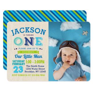 Jungen-1. Geburtstags-Einladungs-Foto unser Karte