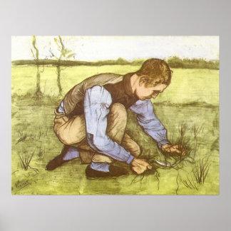 Jungen-Ausschnitt-Gras mit Sichel durch Vincent Poster