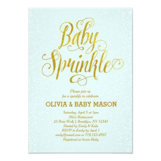 Jungen-Baby besprühen Einladungs-Blau-Gold Karte