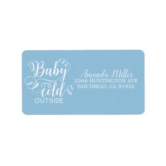 Jungen-Baby ist es kaltes äußeres Adressen-Etikett Adressaufkleber