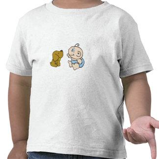 Jungen-Baby und Hund T Shirt