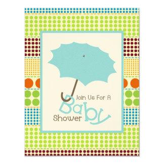Jungen-Babyparty-blauer Regenschirm u. Boho Punkte 10,8 X 14 Cm Einladungskarte
